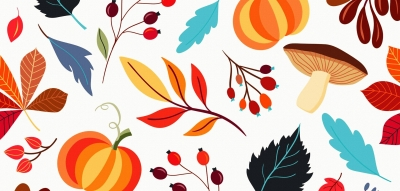 ambiance d'automne : feuilles, potirons, branchages