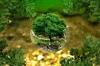 paysage forestier avec arbre dans une sorte de vase