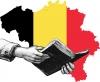 Carte de la Belgique avec main et livre