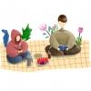 enfants qui lisent sur un drap dans la nature