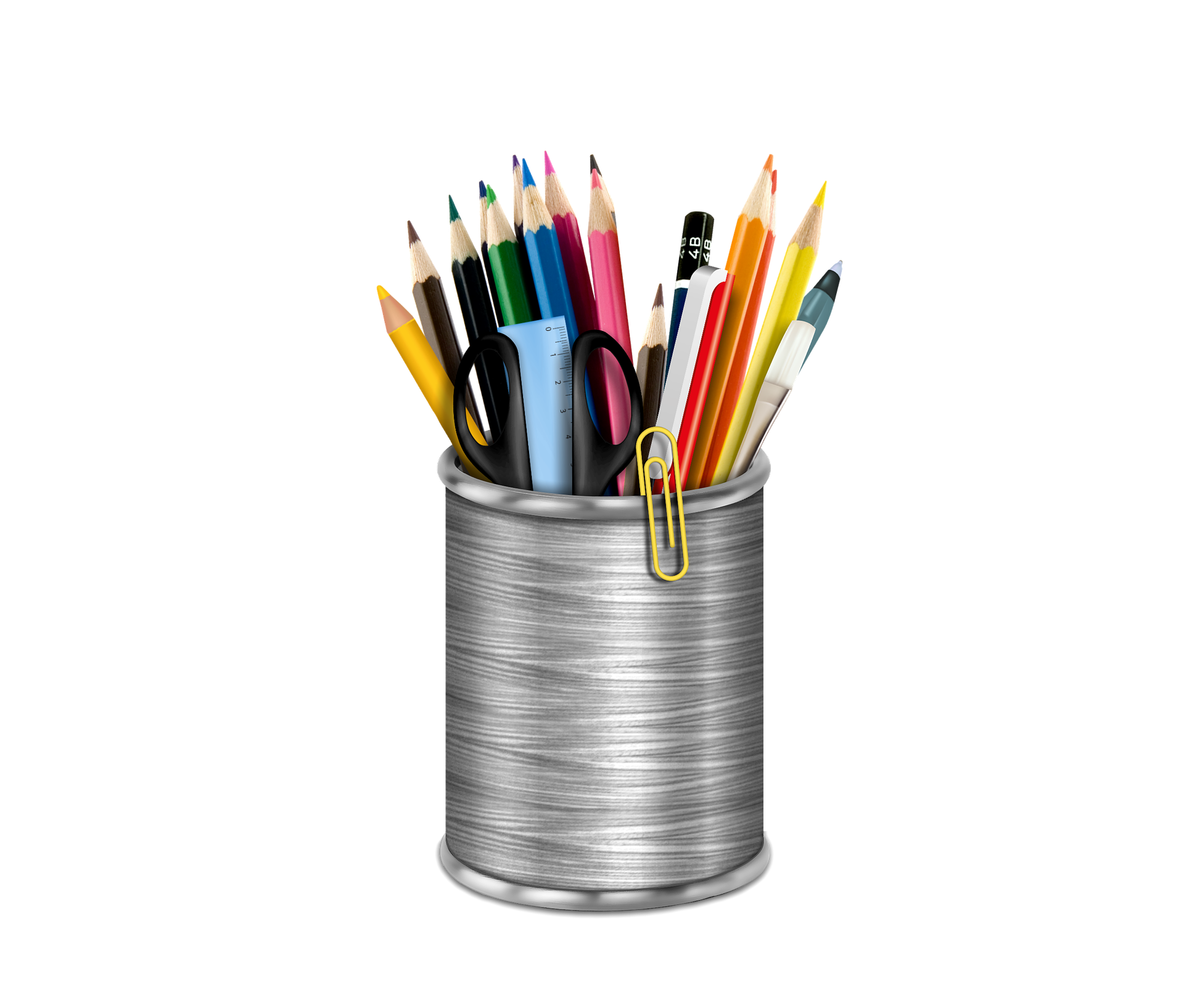 pot avec fournitures (crayons, paire de ciseaux, trombones)