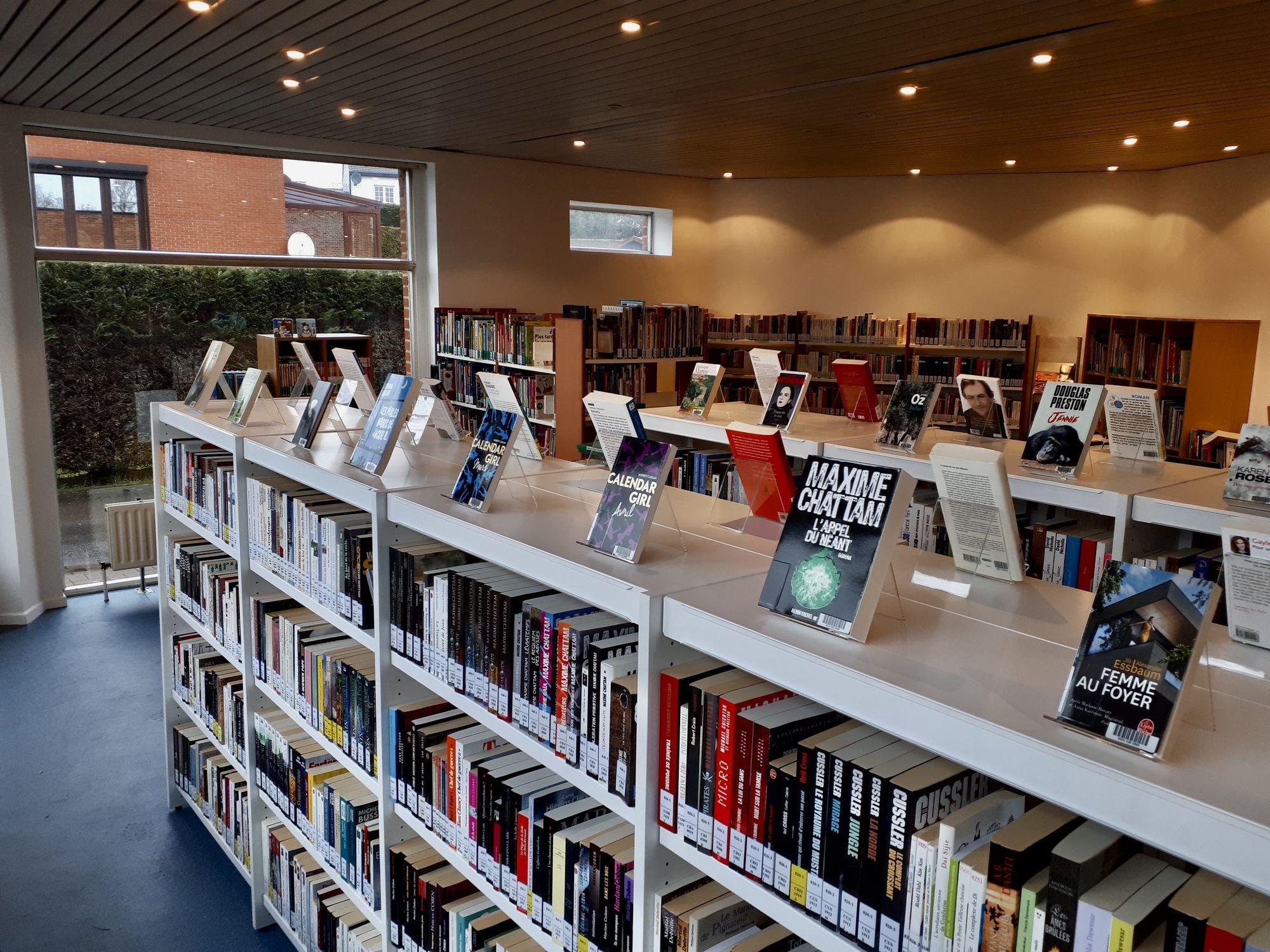 Rayonnages de la bibliothèque de Goutroux