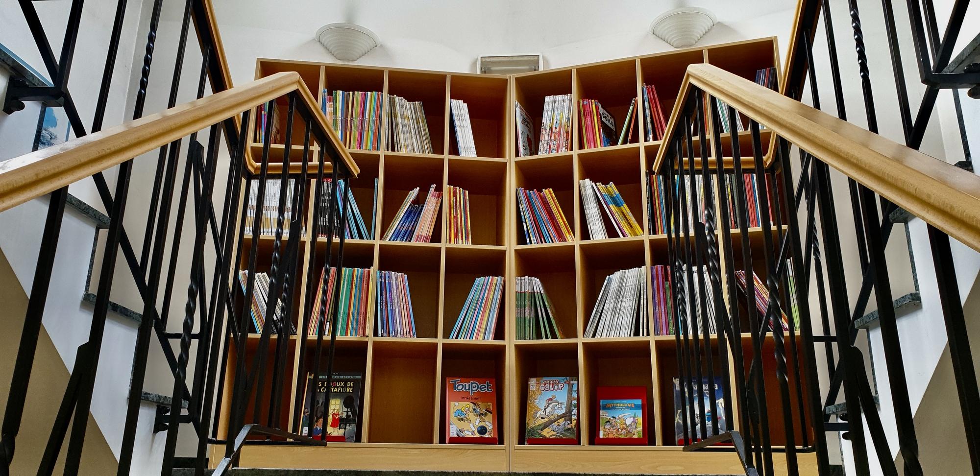 Rayonnages de la bibliothèque de Marcinelle