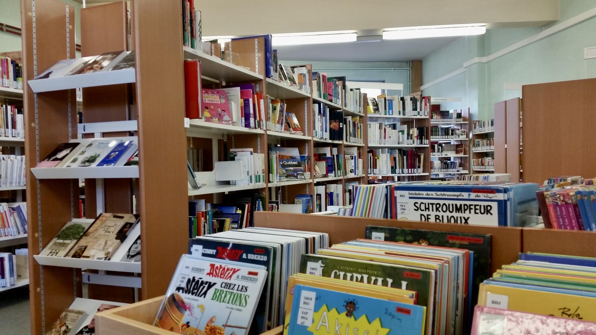 Rayonnages de la bibliothèque de Mont-sur-Marchienne